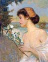 girl with flower branch