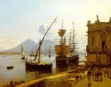 the port of naples with vesuvius