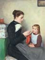 knitting bernese woman with child