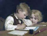 writer boy with little sister