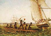 Aboriginal Canoes Communicating with the Monarch and the Tom Tough