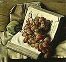 Still-life Grapes-Apples and the Two Books