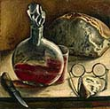 Still-life with Carafe of wine-Bread and Spectacles