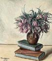still life with flowers and book