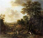 River Landscape with a Washerwoman and Travellers