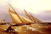 Schooner And Cutter Yacht Rounding A Buoy