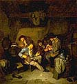 Interior Scene with Six Male Peasants Smoking and Drinking