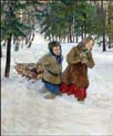 carrying wood in the snow