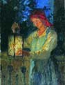 girl with a lantern