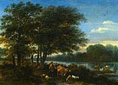 A Brosky River Landscape with Herders and Animals