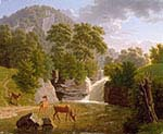 Mountain Landscape with Deer in the River