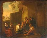 peasants playing cards in a grotto ancient ruins beyond