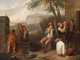 southern landscape with drinking compatriots at a fountain