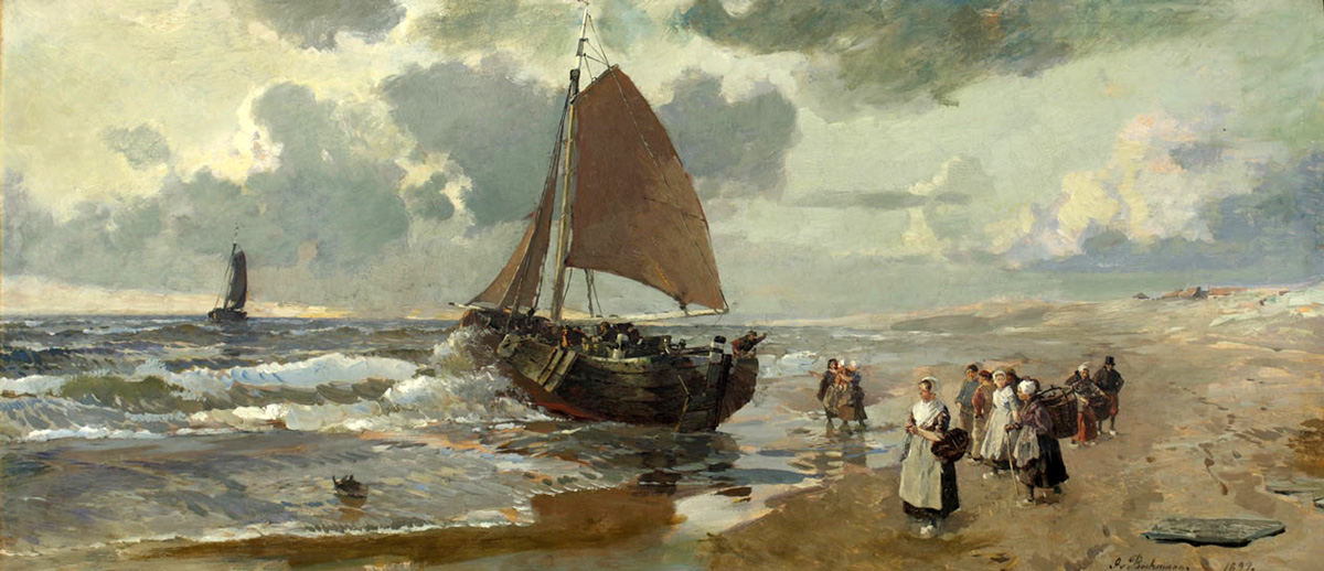 boats on the dutch sea shore