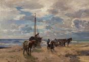 dutch coastal landscape with fishermen