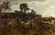 estonian scene with horses and cows