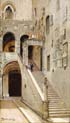 staircase in the inside yard of palazzo vecchio in florence