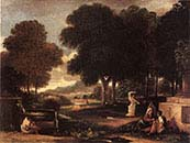 Landscape with Man Washing his Feet at a Fountain