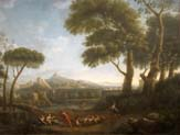 landscape with arcadian figures and imaginary classical buildings