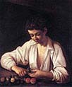 Boy Peeling a Fruit
