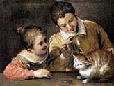 Two Children Reasing a cat