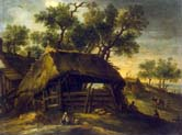 landscape with huts