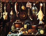 pantry with slice of wild boar duck and mess still life