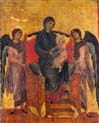 virgin and child enthroned with two angels