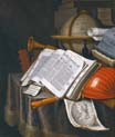 vanitas still life with book and instruments