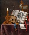 vanitas still life with book and skull