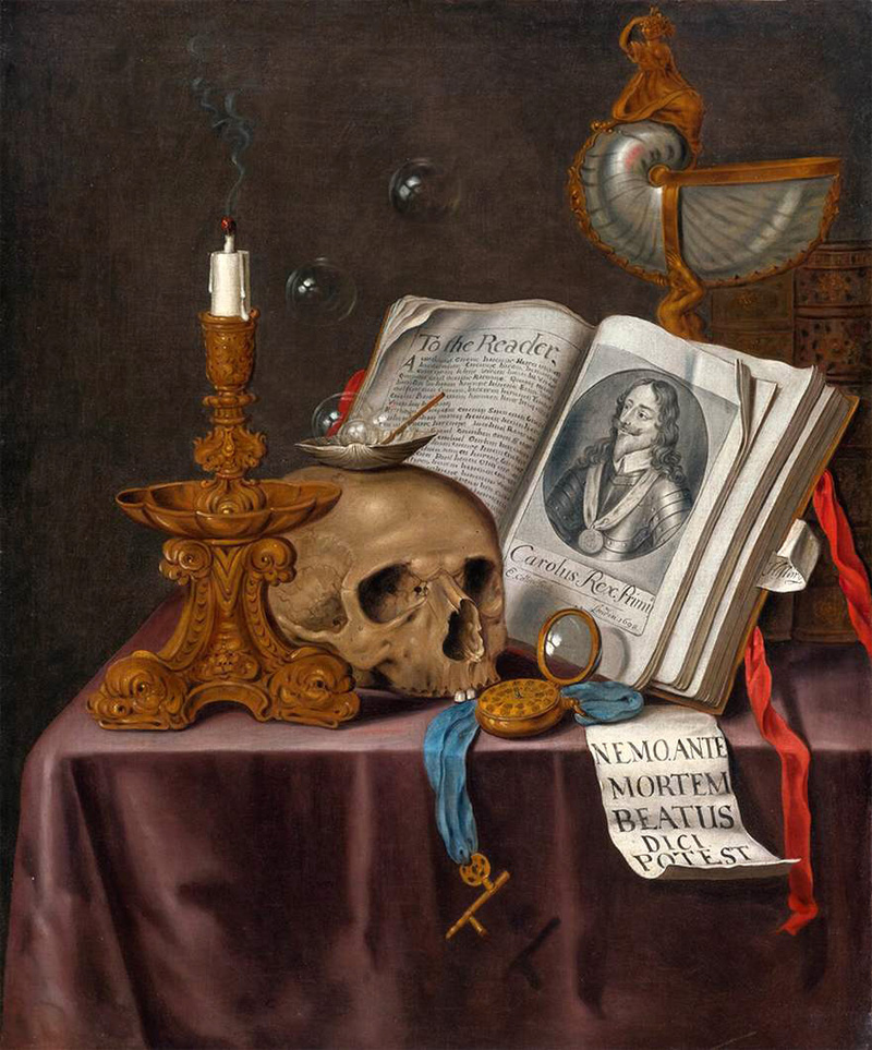 vanitas still life with book and skull[