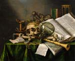 vanitas still life with books and manuscripts