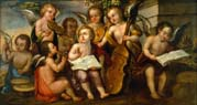 infant jesus with angelic musicians