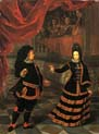elector palatine and his wife in spanish costumes dancing