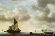 river landscape with a vessel saluting