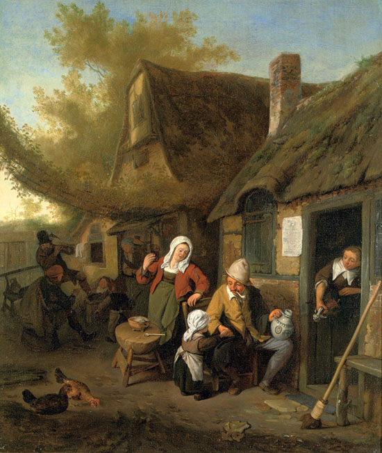 peasant family in front of a house by Cornelis Dusart
