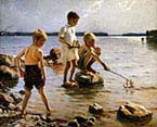 Boys Playing on the Shore
