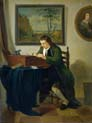 man writing at his desk by Jan Ekels the Younger
