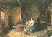 Kreeta Haapasalo Playing the Kantele in a Peasant Cottage