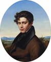 gentleman in lake landscape