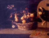 basket of figs with a parrot