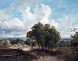 wooded pastoral landscape with figures