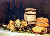 Still life with Fruit Bottles and Bread