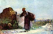 French Peasant Girl with Bag on her Back