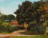 summer forest landscape with farmstead