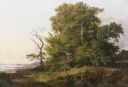 wooded landscape with huntsman and hounds a view of kronborg castle beyond