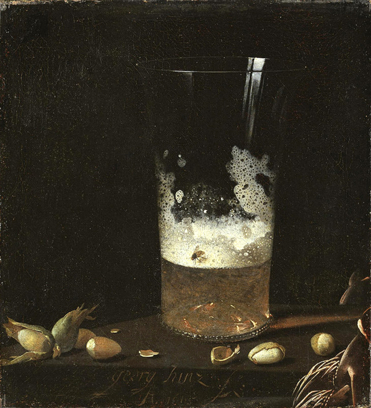still life with a glass of beer