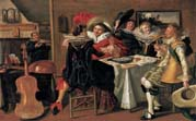 merry company at table by Dirck Hals