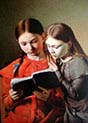 The Artist-s Sisters Signe and Henriette Reading a Book