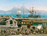 Bustle in the port of Naples